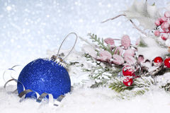Blue Christmas ball. New Year composition. royalty free stock photography