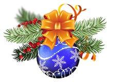 Blue Christmas ball with orange bow Stock Photos