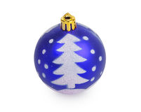 Blue Christmas ball with painted Christmas tree Royalty Free Stock Images