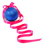 Blue Christmas ball and pink ribbon on a white background. Stock Images