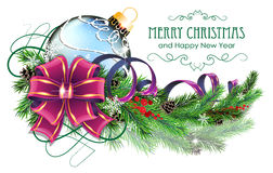 Blue Christmas ball with purple bow and fir branches Royalty Free Stock Photography
