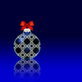 Blue Christmas ball red bow Stock Photography