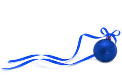 Blue Christmas ball with ribbon Stock Image