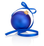 Blue christmas ball with ribbon bow Isolated on white background Stock Image