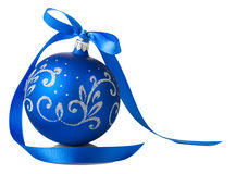 Blue christmas ball with ribbon bow. On white background Stock Images