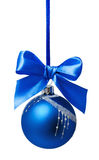 Blue christmas ball with ribbon isolated Royalty Free Stock Photography