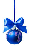 Blue christmas ball with ribbon isolated Stock Photography