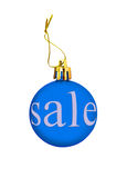 Blue Christmas ball with sale tag.Isolated. Stock Photography