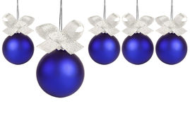 Blue christmas ball with silver ribbon. Isolated on white Royalty Free Stock Images
