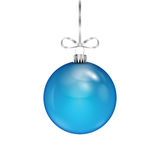 Blue Christmas ball on silver ribbon Stock Photography