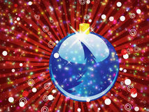 Blue Christmas ball on sparkle red background Stock Image