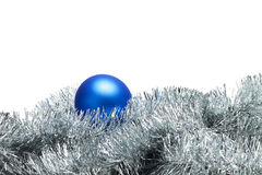 Blue christmas ball with tinsel Royalty Free Stock Photography