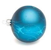 Blue Christmas ball. Christmas tree decoration blue ball isolated on white backrground Royalty Free Stock Photos