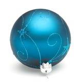 Blue Christmas ball. Christmas tree decoration blue ball isolated on white backrground Stock Images