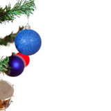 Blue christmas ball on tree isolated Royalty Free Stock Images