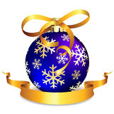 Blue Christmas ball on white Stock Images