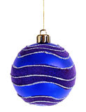 Blue Christmas ball. On the white background Royalty Free Stock Image