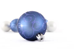 Blue Christmas ball on white background Royalty Free Stock Image