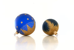 Blue Christmas balls. Two blue Christmas balls on a white background Stock Photography