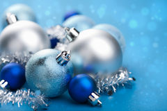 Blue christmas balls. Closeup shot of blue christmas balls royalty free stock photography