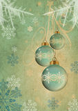 Blue christmas balls. On blue  background Royalty Free Stock Photo