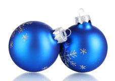 Blue christmas balls. Over the white background Stock Photography