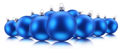 Blue Christmas balls. On a white background stock images