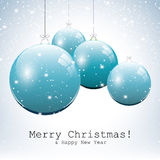Blue Christmas balls. Christmas background with blue balls and snow Stock Image