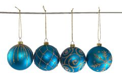 Blue christmas balls. With ornament Stock Images