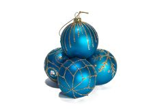 Blue christmas balls. With ornament Royalty Free Stock Photography