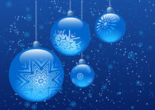 Blue christmas balls. On blue background. All elements are separate objects and grouped.No transparency Stock Photo