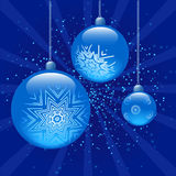 Blue christmas balls. All elements are separate objects and grouped.No transparency Stock Photo
