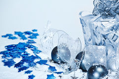 Blue Christmas Balls And Present Royalty Free Stock Images