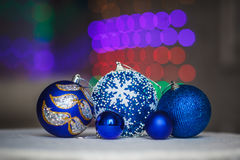 Blue christmas balls with bokeh background. New Year decoration. Royalty Free Stock Photography