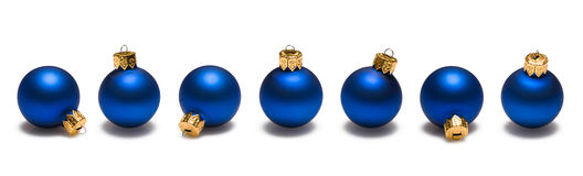 Blue Christmas Balls Border Stock Photos
