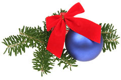 Blue Christmas balls and branch Stock Photo