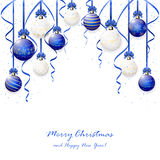 Blue Christmas balls and confetti Stock Images