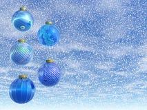 Blue Christmas balls - 3D render Royalty Free Stock Image