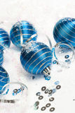 Blue christmas balls decoration Royalty Free Stock Photography