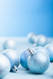 Blue christmas balls decoration Royalty Free Stock Photos
