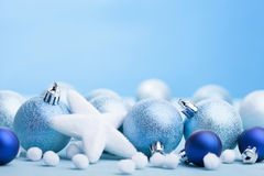 Blue christmas balls decoration Stock Images