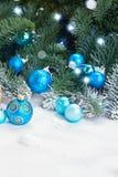 Blue christmas balls Royalty Free Stock Photos
