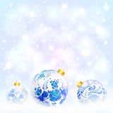 Blue Christmas balls with floral ornament Stock Photo