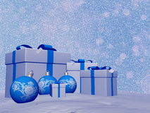 Blue Christmas balls and gifts - 3D render Royalty Free Stock Photo