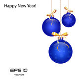 Blue Christmas balls. Glitter, vector Stock Photography