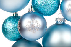 Blue christmas balls hanging Stock Photo