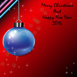 Blue Christmas  balls  isolate on red background and christmas tree Royalty Free Stock Photo