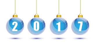 Blue christmas balls with the numbers of new year 2017 hanging. On white background royalty free illustration