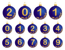 Blue Christmas Balls with numerals 0-9 Royalty Free Stock Photography