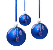 Blue christmas balls with ribbon isolated Stock Images